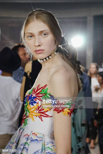 A model poses prior the Andrew GN show as part of the Paris Fashion Week Womenswear Spring/Summer 2018 on September 29 2017 in Paris France