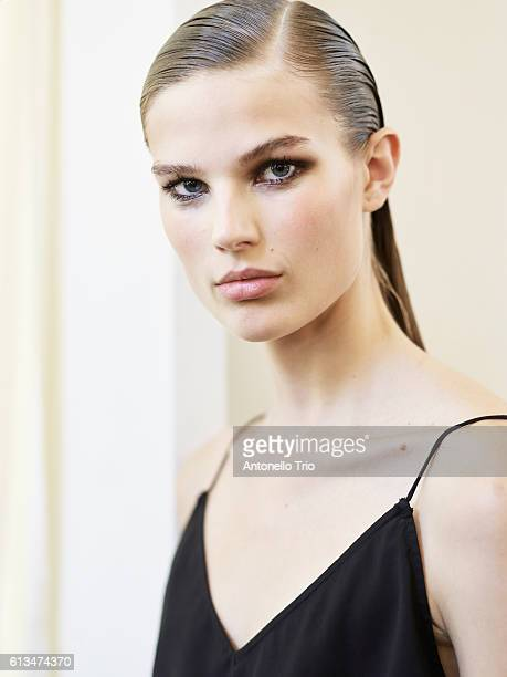 A Model poses prior the Balmain show as part of the Paris Fashion Week Womenswear Spring/Summer 2017 on September 29 2016 in Paris France