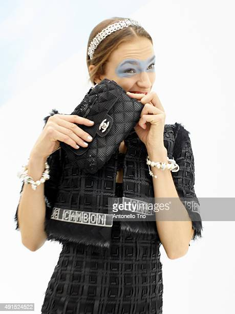 A model poses prior the Chanel show as part of the Paris Fashion Week Womenswear Spring/Summer2016 on October 6 2015 in Paris France