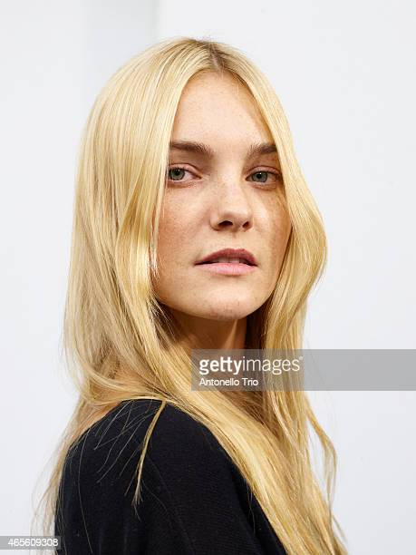 Model poses prior the Chloe show as part of the Paris Fashion Week Womenswear Fall/Winter 2015/2016 on March 8 2015 in Paris France