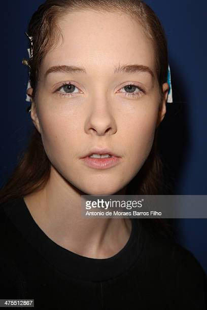 Model poses prior the Christian Wijnants show as part of the Paris Fashion Week Womenswear Fall/Winter 2014-2015 on February 27, 2014 in Paris,...