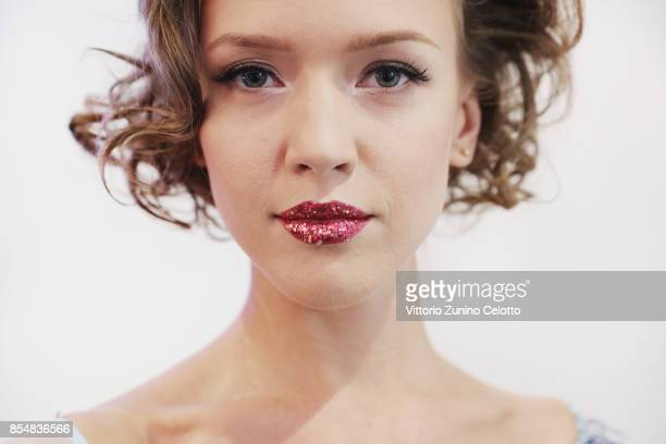 A model poses prior the Christophe Guillarme show as part of the Paris Fashion Week Womenswear Spring/Summer 2018 on September 27 2017 in Paris France