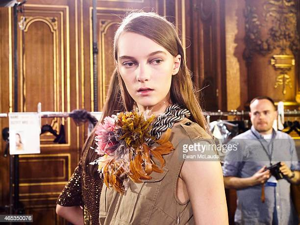 Model poses prior the Dries Van Noten show as part of the Paris Fashion Week Womenswear Fall/Winter 2015/2016 on March 4 2015 in Paris France