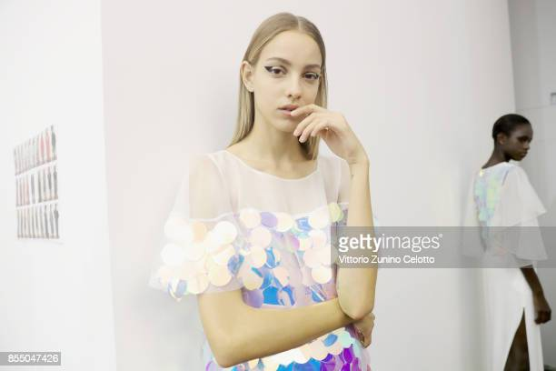 A model poses prior the Ingie show as part of the Paris Fashion Week Womenswear Spring/Summer 2018 on September 28 2017 in Paris France