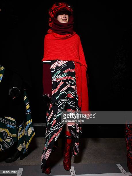 Model poses prior the Kenzo show as part of the Paris Fashion Week Womenswear Fall/Winter 2015/2016 on March 8 2015 in Paris France