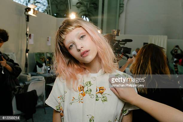 A model poses prior the Leonard Paris show as part of the Paris Fashion Week Womenswear Spring/Summer 2017 on October 3 2016 in Paris France