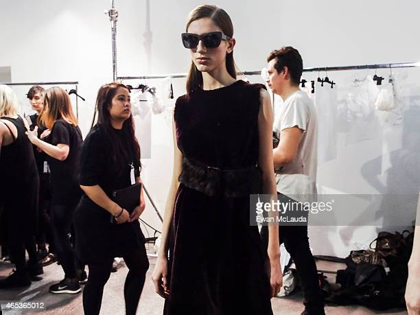Model poses prior the Rochas show as part of the Paris Fashion Week Womenswear Fall/Winter 2015/2016 on March 4 2015 in Paris France
