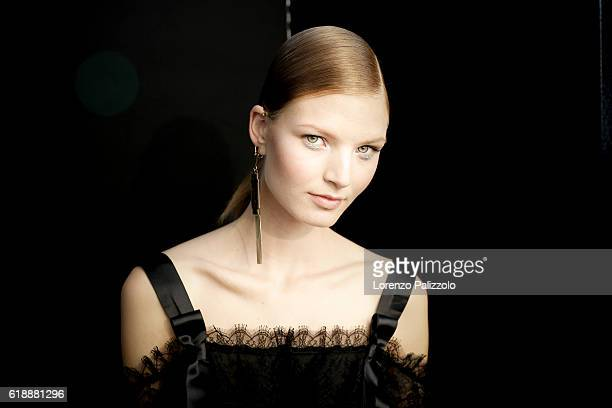 A Model poses prior the Shiatzy Chen show as part of the Paris Fashion Week Womenswear Spring/Summer 2017 on October 4 2016 in Paris France