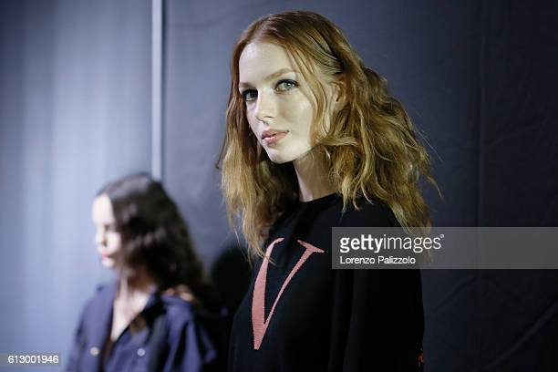 A Model poses prior the Sonia Rykiel show as part of the Paris Fashion Week Womenswear Spring/Summer 2017 on October 3 2016 in Paris France