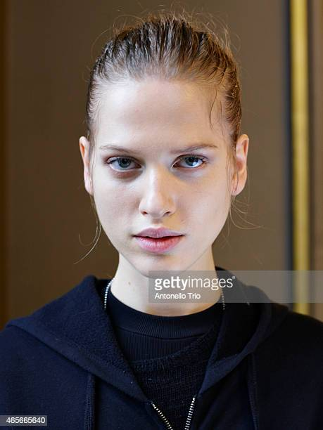 Model poses prior the Stella McCartney show as part of the Paris Fashion Week Womenswear Fall/Winter 2015/2016 on March 9 2015 in Paris France