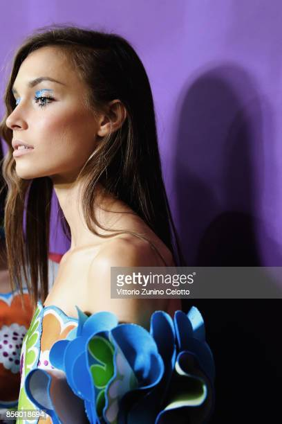 A model poses prior the Talbot Runholf show as part of the Paris Fashion Week Womenswear Spring/Summer 2018 on September 30 2017 in Paris France