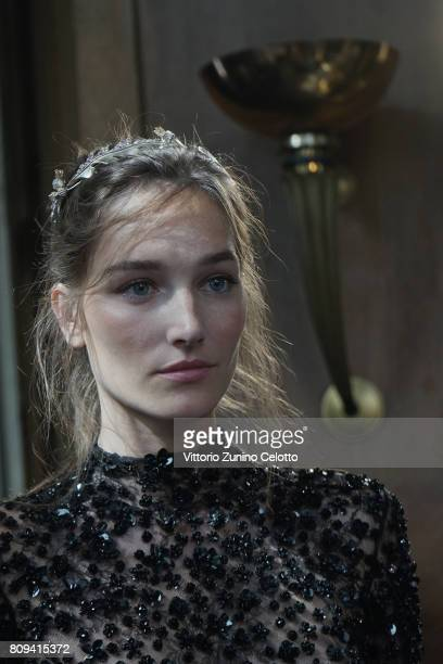 A model poses prior the Zuhair Murad Haute Couture Fall/Winter 20172018 show as part of Haute Couture Paris Fashion Week on July 5 2017 in Paris...