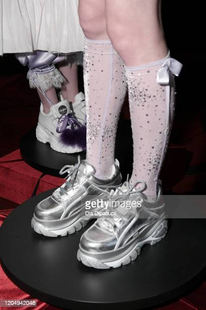 A model poses shoe detail for Wiederhoeft Fall / Winter 2020 New York Fashion Week Presentation The Music Box at Sunken Living Room at Spring Studios...