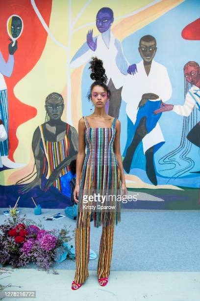 Model poses the during the Kenneth Ize Womenswear Spring/Summer 2021 show as part of Paris Fashion Week on October 01, 2020 in Paris, France.
