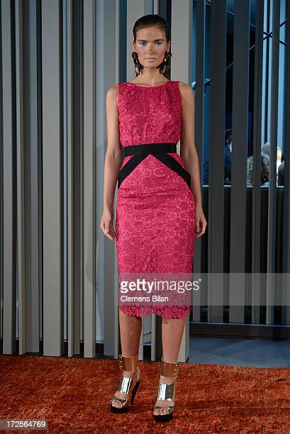 A model poses the runway at Simone Anes Stephan Pelger Show during MercedesBenz Fashion Week Spring/Summer 2014 on July 3 2013 in Berlin Germany