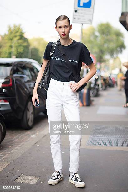 A model poses wearing a Marco de Vincenzo tshirt after the Marco de Vincenzo show during Milan Fashion Week Spring/Summer 2017 on September 23 2016...