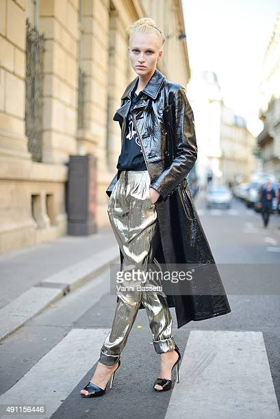A model poses wearing a Yohji Yamamoto coat and Lanvin pants after the Vivienne Westwood show at the Cordeliers Convent during Paris Fashion Week...