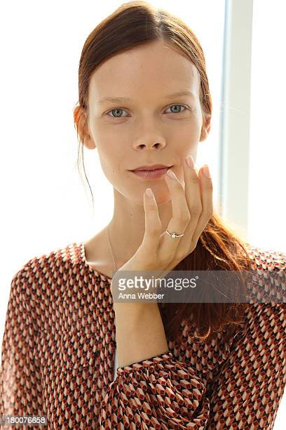 A model poses wearing JINsoon Nail Lacquer during JINsoon For Derek Lam Spring/Summer 2014 at Sean Kelly Gallery on September 8 2013 in New York City