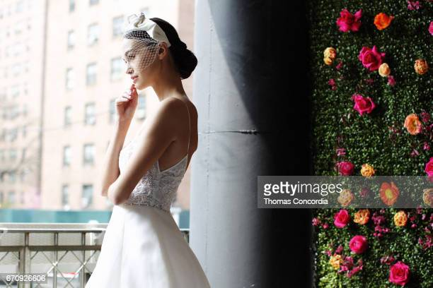 Model poses wearing Lela Rose Spring 2018 Bridal Collection at La Sirena on April 20, 2017 in New York City.