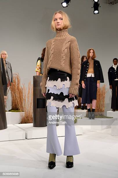 Model poses wearing Ohlin/D Fall 2016 during New York Fashion Week: The Shows at Pier 59 Studios on February 13, 2016 in New York City.