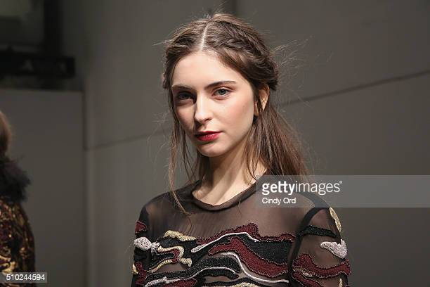 A model poses wearing Rachel Zoe Fall 2016 during New York Fashion Week The Shows at The Space Skylight at Clarkson Sq on February 14 2016 in New...