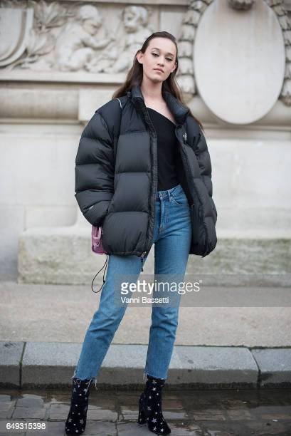 A model poses wearing The North Face down after the Shatzy Chen show at the Grand Palais during Paris Fashion Week Womenswear FW 17/18 on March 7...
