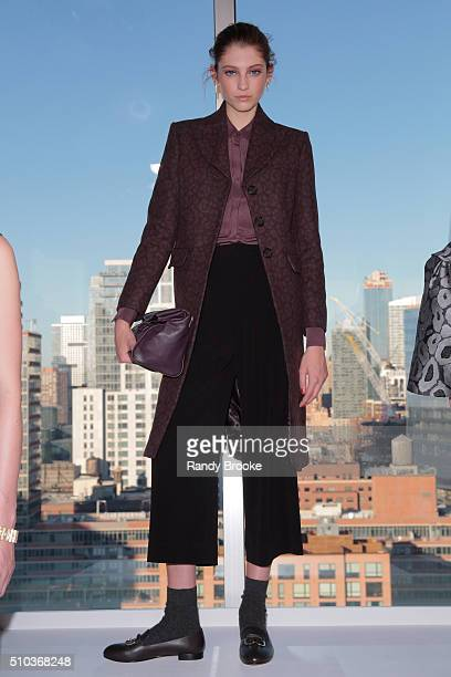 A model poses wearing Zac Posen at the Brooks Brothers Fall Presentation 2016 during New York Fashion Week at TBD on February 14 2016 in New York City