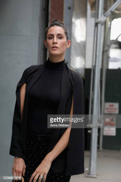 A model poses while exiting the MONSE show at NYFW The Shows in Maybelline New York look on September 7 2018 in New York City
