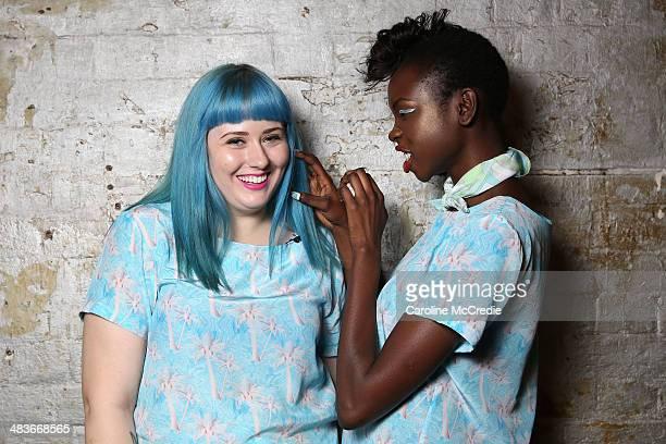 A model poses with designer Hayley Elsaesser backstage ahead of the Hayley Elsaesser show at MercedesBenz Fashion Week Australia 2014 at...