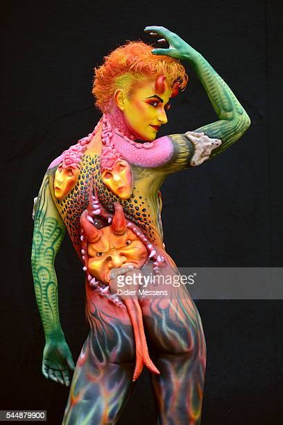 A model poses with her bodypainting designed by bodypainting artist Alexandra Rijke from Netherlands during the World Bodypainting Festival in...