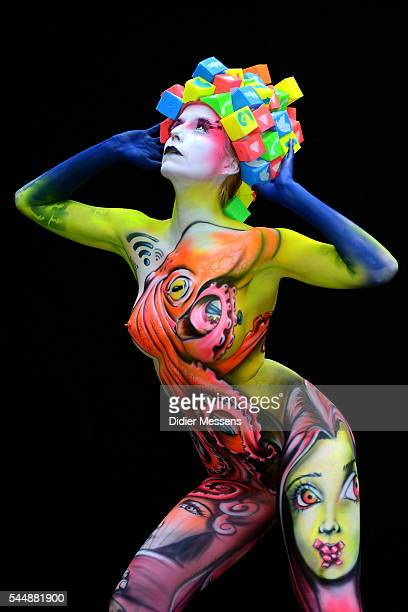 A model poses with her bodypainting designed by bodypainting artist Benoit Botalla from Guadeloupe during the World Bodypainting Festival in...