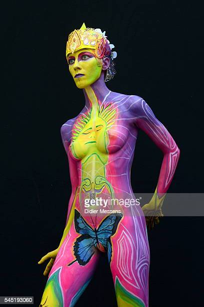 A model poses with her bodypainting designed by bodypainting artist Christiane Rempel from Germany during the World Bodypainting Festival in...