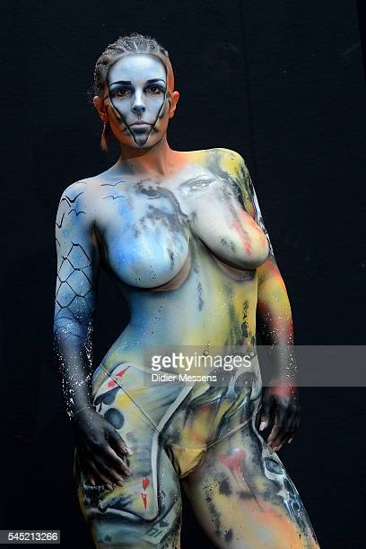 A model poses with her bodypainting designed by bodypainting artist Robert Lechner from Austria during the World Bodypainting Festival in Poertschach...