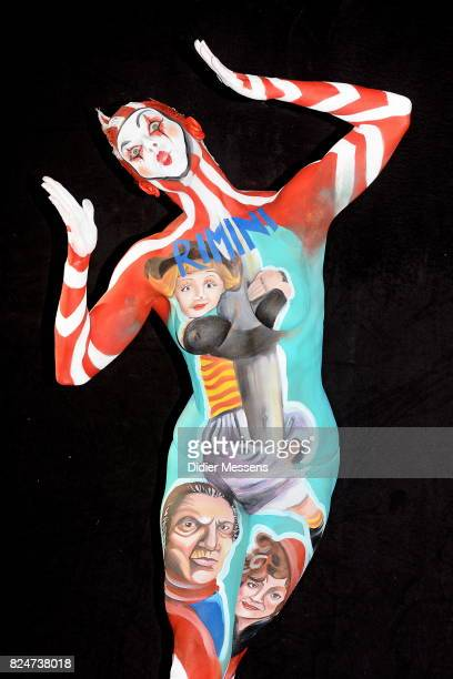 A model poses with her bodypainting designed by bodypainting artist Sofia Sellanes from Uruguay during the 20th World Bodypainting Festival 2017 on...