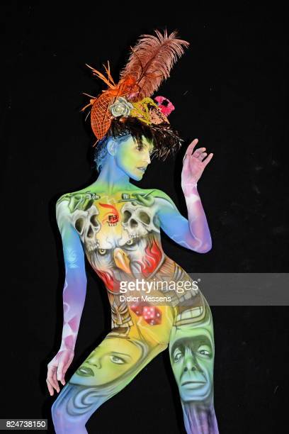 A model poses with her bodypainting designed by bodypainting artist Flavio Bosco from Italy during the 20th World Bodypainting Festival 2017 on July...