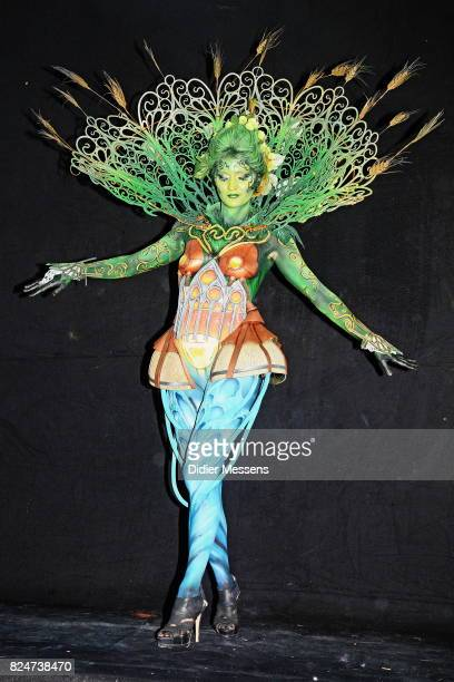 A model poses with her bodypainting designed by bodypainting artist Francois Rose from Belgium during the 20th World Bodypainting Festival 2017 on...