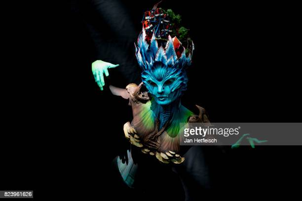 A model poses with her bodypainting designed by Mickael Schmitt of France during the 20th World Bodypainting Festival 2017 on July 28 2017 in...