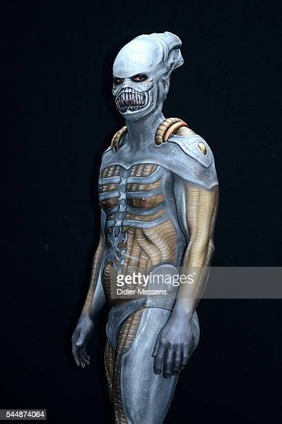 A model poses with his bodypainting during the World Bodypainting Festival on July 3 2016 in Poertschach am Woerthersee Austria
