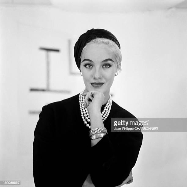 Model posing 1957 in Paris France