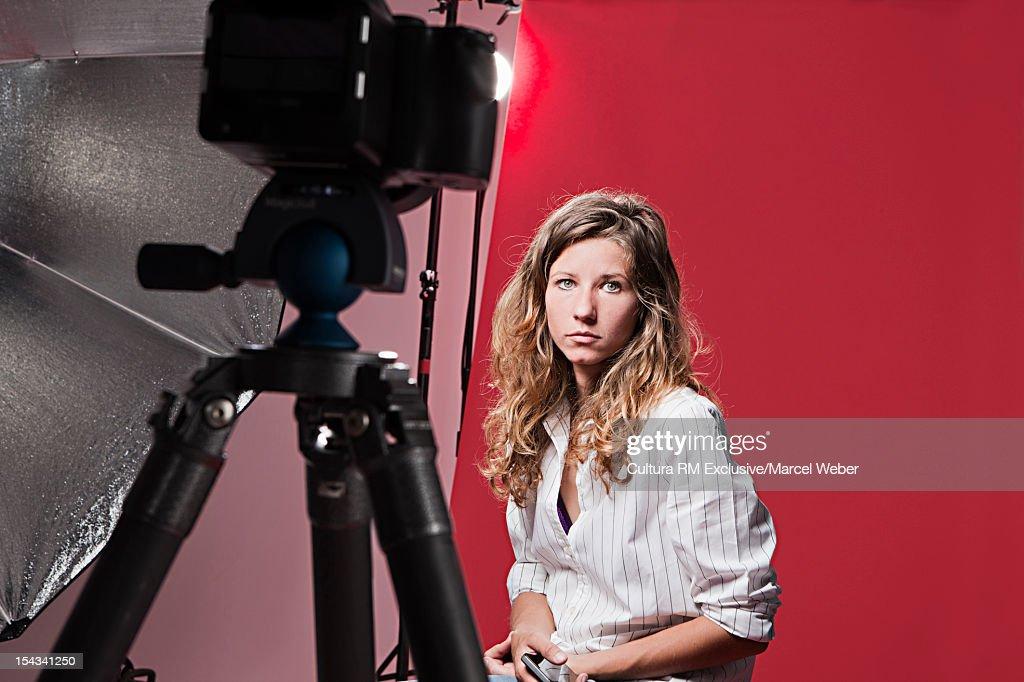 Model posing at fashion shoot : Foto de stock