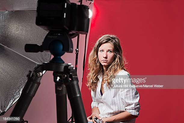 Model posing at fashion shoot