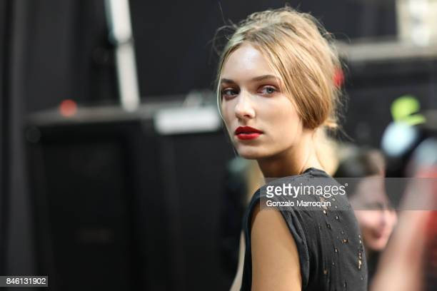A model posing backstage during the Badgley Mischka Fashion show during New York Fashion Week The Shows at Gallery 3 Skylight Clarkson Sq on...