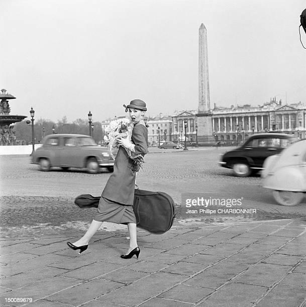 A model posing on the Place de la Concorde 1960 in Paris France