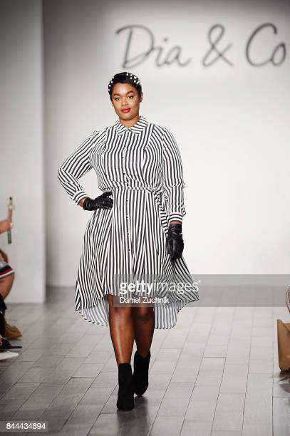 Model Precious Lee walks the runway during the DiaCo fashion show and industry panel at the CURVYcon at Metropolitan Pavilion West on September 8...