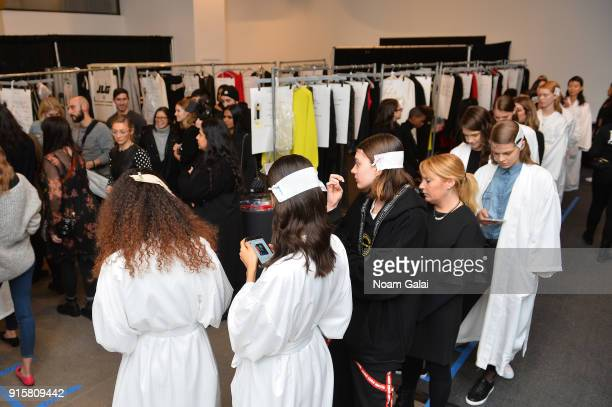 Model prepare backstage for Noon By Noor during New York Fashion Week The Shows at Gallery II at Spring Studios on February 8 2018 in New York City