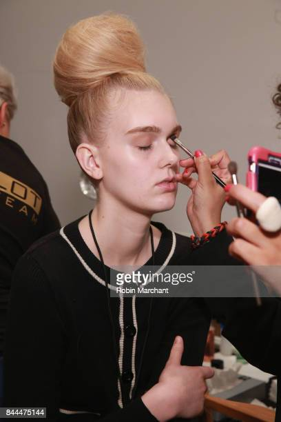 A model prepares at Michael Costello presentation during New York Fashion Week at Robert Miller Gallery on September 8 2017 in New York City