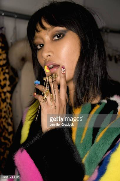 Model prepares at the CND For Libertine Fall/Winter 2017 during, New York Fashion Week:The Shows at Skylight at Clarkson Sq on February 13, 2017 in...