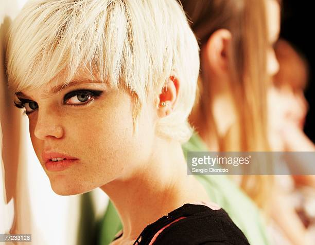 Model prepares backstage ahead of a catwalk show as part of the New Generation group show on the first day of Rosemount Australian Fashion Week's...