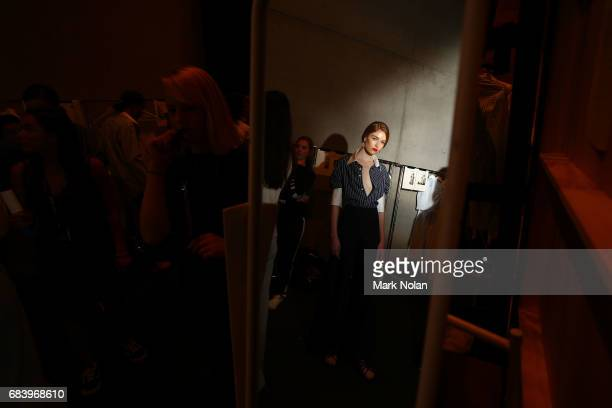 A model prepares backstage ahead of the ANNA QUAN show at MercedesBenz Fashion Week Resort 18 Collections at Carriageworks on May 17 2017 in Sydney...