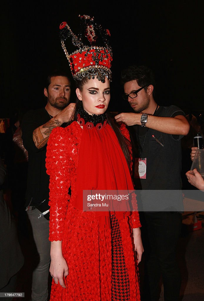 A model prepares backstage ahead of the Annah Stretton show during New Zealand Fashion Week at the Viaduct Events Centre on September 5, 2013 in Auckland, New Zealand.
